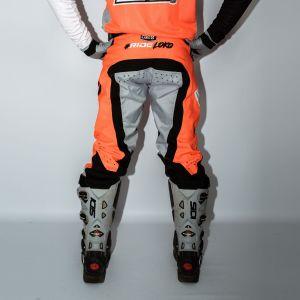 Back of adults orange engage motorsport pants