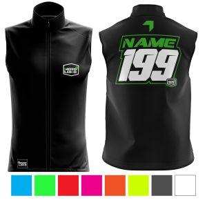 Front & back of black motorsports softshell bodywarmer with green customisation