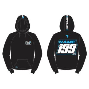 Blue hoodie mockup showing front and rear with customised Name and Number