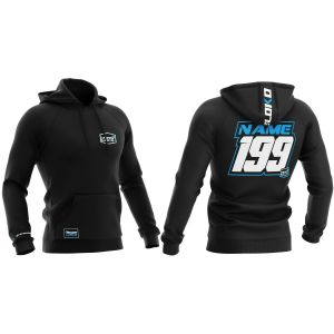 Blue customised motorsports hoodie showing front and back