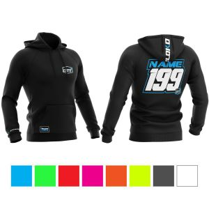 Multiple colours customised motorsports hoodie showing front and back