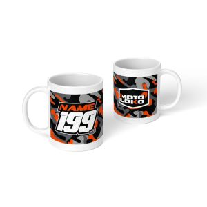 Orange camo mug with customised Name & Number on one side and MotoLoko logo on the other side