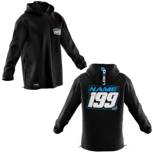 Front & back of black motorsports softshell jacket with blue customisation