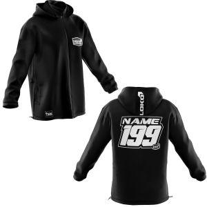 Front & back of black with white customisation motorsports softshell jacket