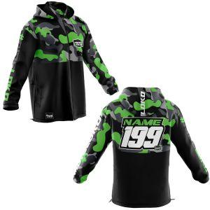 Front & back of green camo motorsports customisable softshell jacket