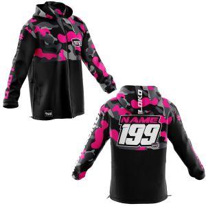 Front & back of pink camo motorsports customisable softshell jacket