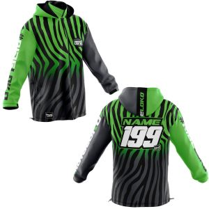 Front & back of black primal & green motorsports customisable softshell jacket