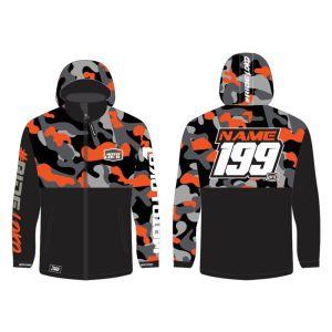 Orange Camo customised motorsports softshell jacket showing front and back