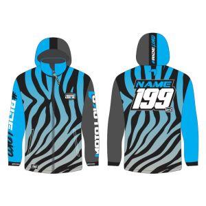 Blue Primal customised motorsports softshell jacket showing front and back