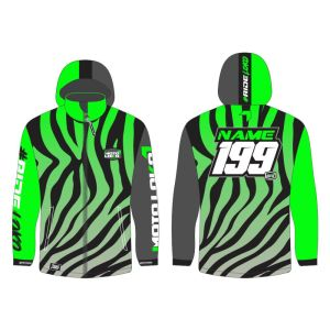 Green Primal customised motorsports softshell jacket showing front and back