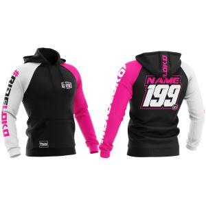 Front & back of pink customised premium motorsports hoodie