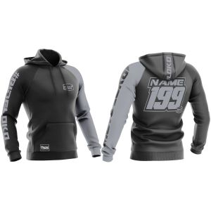 Front & back black motorsports sublimated hoodie with stealth customisation