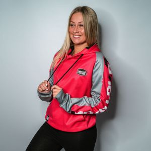Pink Brushed customised motorsports hoodie showing front and back