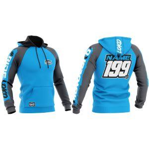Front & back of blue brushed motorsports customisable hoodie