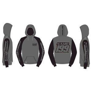 Grey hoodie mockup showing front, rear and sides, with customised Name and Number