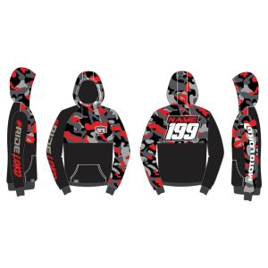 Red Camo customised motorsports hoodie showing front and back