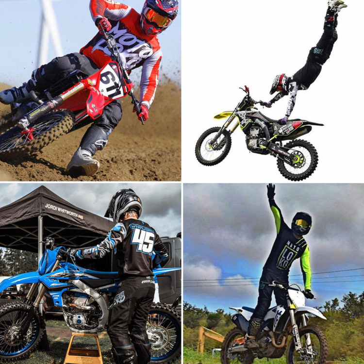 Collage showing 4 motorsports riders wearing MotoLoko jerseys