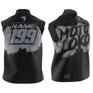 Black Brushed customised motorsports softshell bodywarmer showing front and back