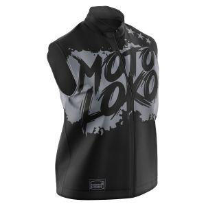 Front of black brushed motorsports softshell bodywarmer