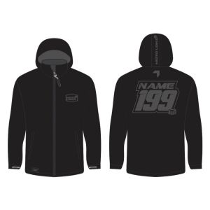 Grey Softshell Jacket mockup showing front and rear, with customised Name & Number.