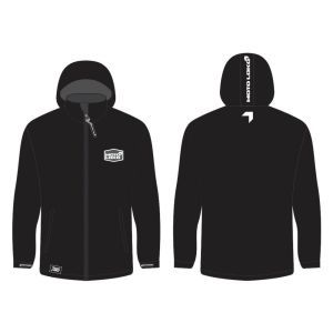 White Softshell Jacket mockup showing front and rear, without customisation.