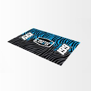 Blue animal print bike mat mockup