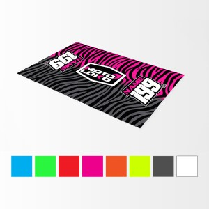 Pink animal print bike mat mockup with coloured swatches below