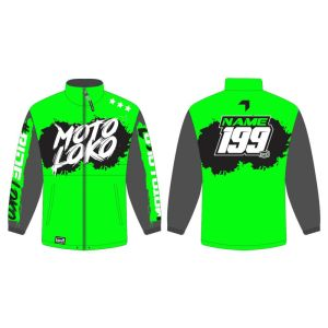 Green rain jacket mockup showing front and rear, with customised Name and Number