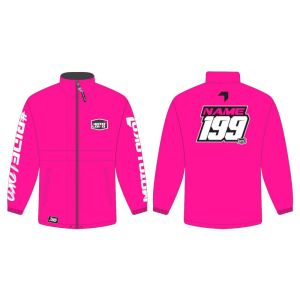 Pink rain jacket mockup showing front and rear, with customised Name and Number