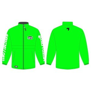 Green rain jacket mockup showing front and rear