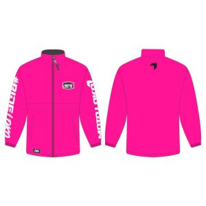 Pink rain jacket mockup showing front and rear