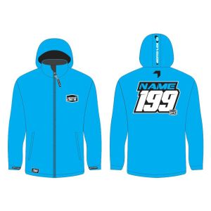 Blue softshell jacket mockup showing front and rear, with customised Name and Number