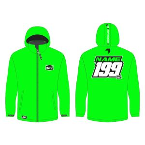 Green softshell jacket mockup showing front and rear, with customised Name and Number