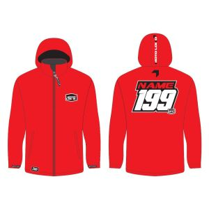 Red softshell jacket mockup showing front and rear, with customised Name and Number