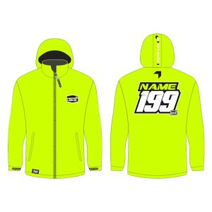Yellow softshell jacket mockup showing front and rear, with customised Name and Number