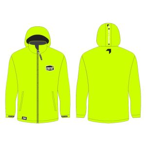 Yellow softshell jacket mockup showing front and rear