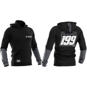Front & back of black fresh customisable motorsports hoodie