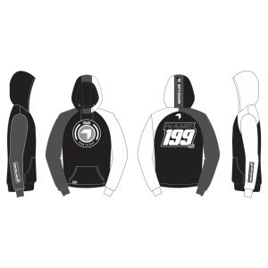 Black Born to Race customised motorsports hoodie showing front and back
