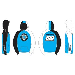 Blue Born to Race customised motorsports hoodie showing front and back