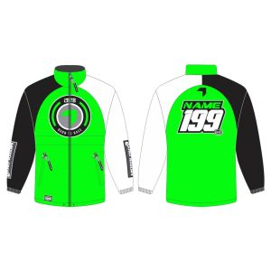 Green Born to Race customised motorsports rain anorak showing front and back