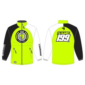 Yellow Born to Race customised motorsports rain anorak showing front and back