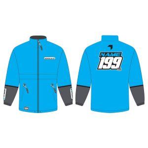 Blue Fresh customised motorsports rain anorak showing front and back
