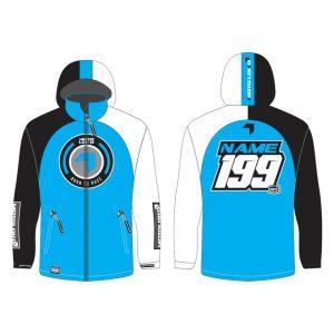 Blue Born to Race customised motorsports softshell jacket showing front and back