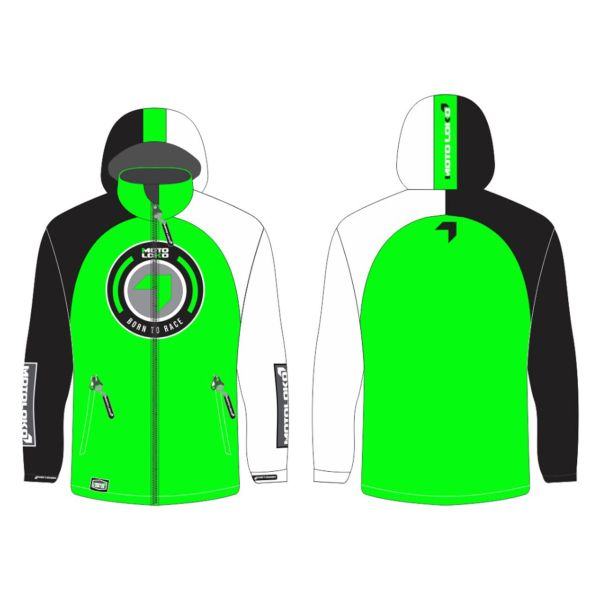 Green Born to Race generic motorsports softshell jacket showing front and back