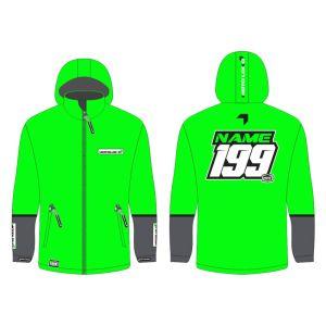 Green Fresh customised motorsports softshell jacket showing front and back