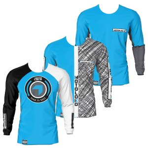 front of triple pack motorsports jersey showing blue born 2 race, scribble and fresh