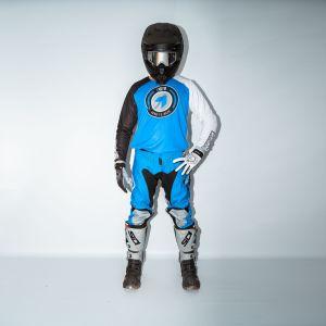 front of model wearing blue born 2 race motorsports kit