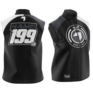 Black Born to Race customised motorsports softshell bodywarmer showing front and back