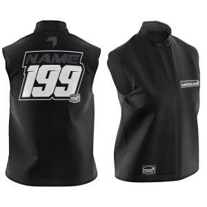 Black Fresh customised motorsports softshell bodywarmer showing front and back