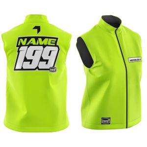 Front & back of yellow fresh motorsports softshell bodywarmer